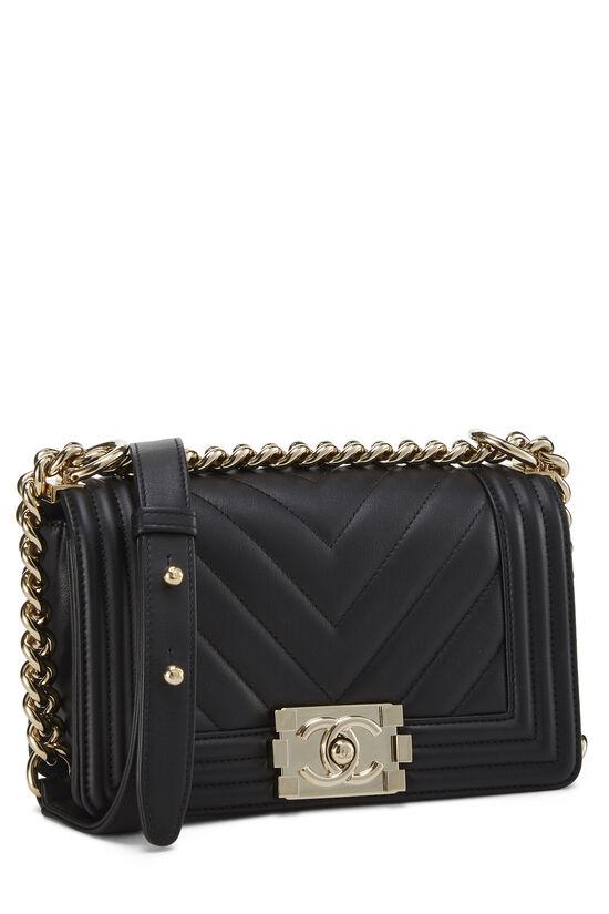 Black Chevron Lambskin Boy Bag Mini, , large image number 2