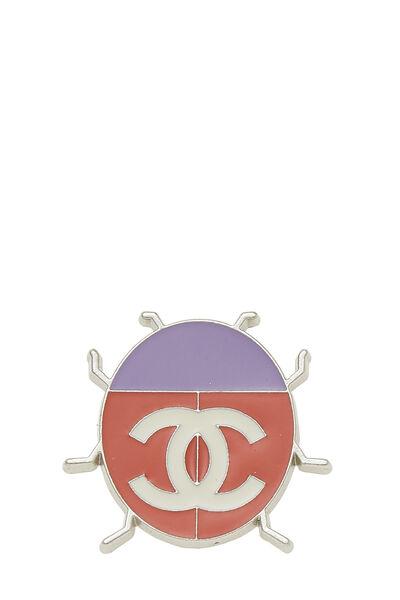 Silver & Orange Enamel Ladybug Pin