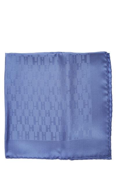 Blue 'Grand H' Silk Pocket Square, , large