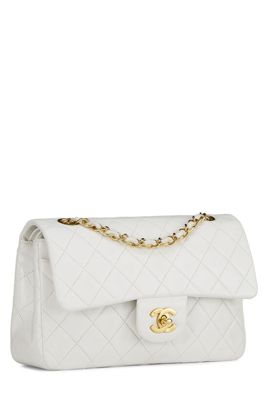 White Quilted Lambskin Classic Double Flap Small, , large image number 1