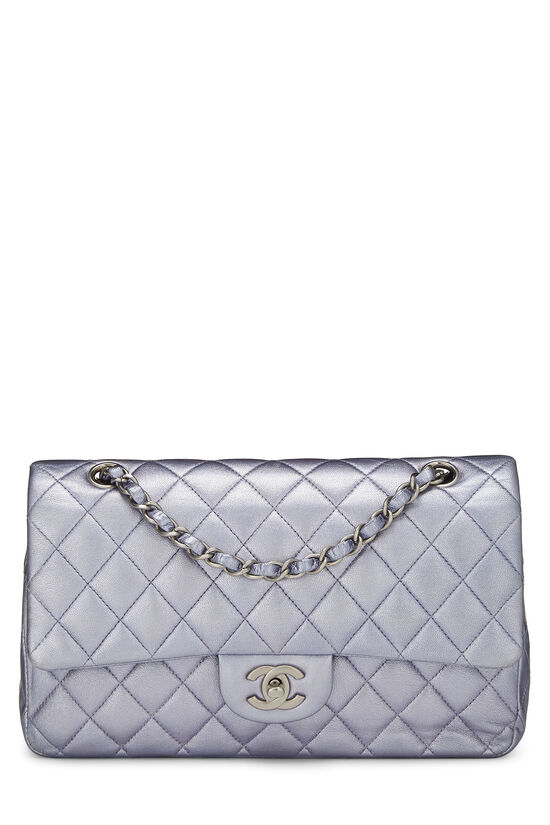 Metallic Purple Quilted Lambskin Classic Double Flap Medium, , large image number 0