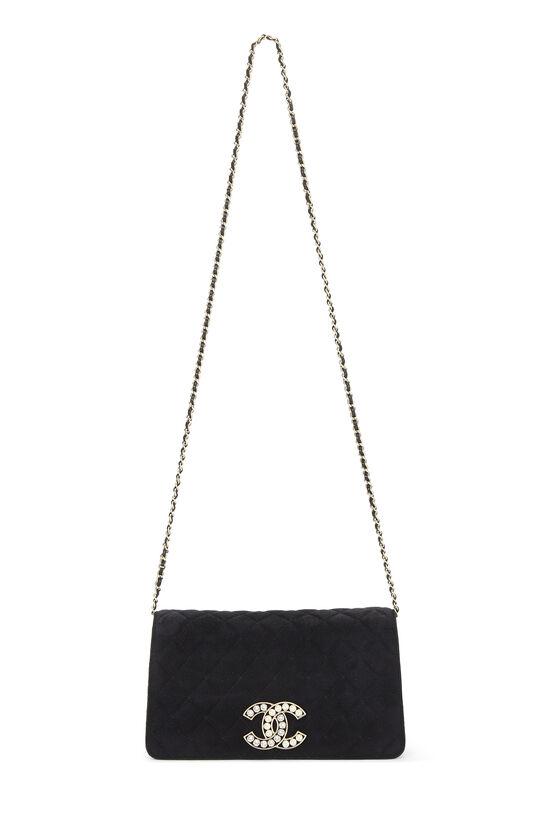 Black Quilted Suede Embellished 'CC' Clutch, , large image number 6