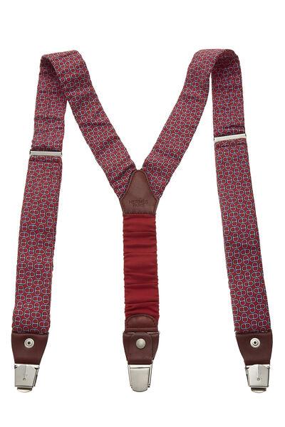Red Silk Motif Suspenders, , large