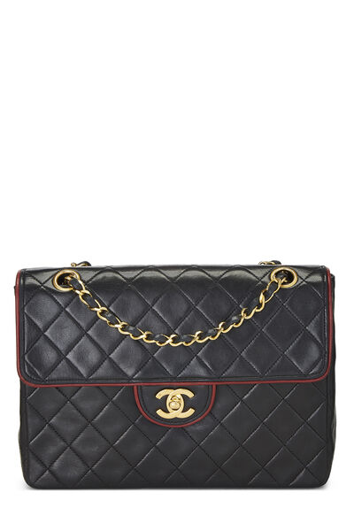 Black Quilted Lambskin Piped Half Flap Small