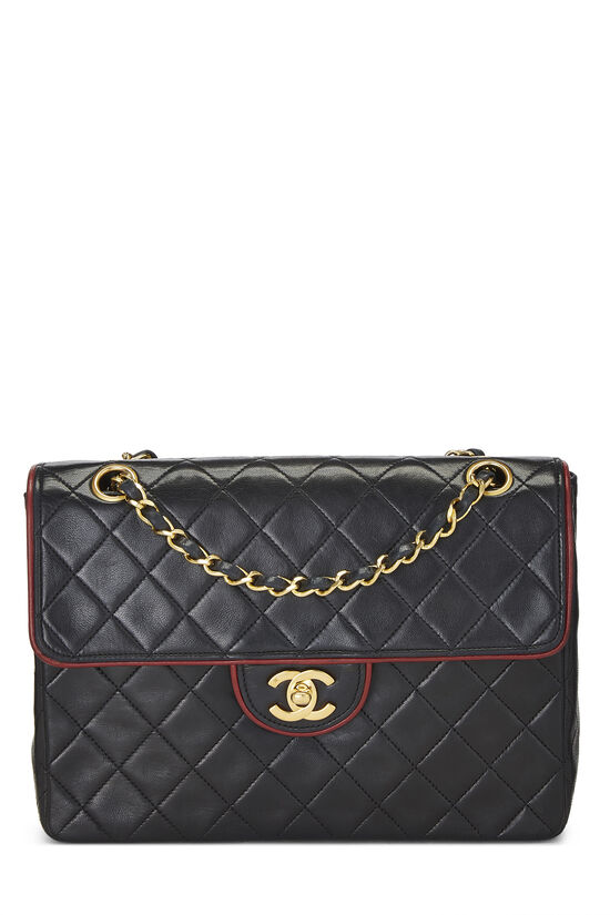 Black Quilted Lambskin Piped Half Flap Small, , large image number 0