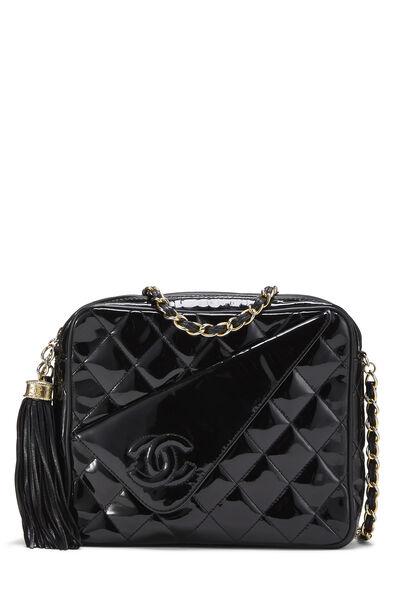 Black Patent Leather Diagonal Camera Bag Small