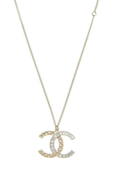 Gold & Crystal Quilted 'CC' Necklace, , large