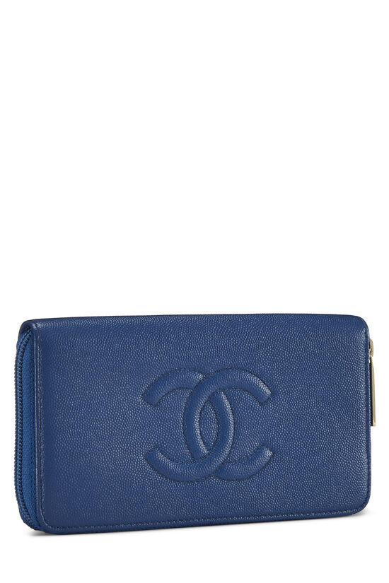 Blue Quilted Caviar Zip Wallet, , large image number 1