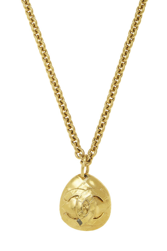 Gold Quilted 'CC' Necklace, , large image number 1