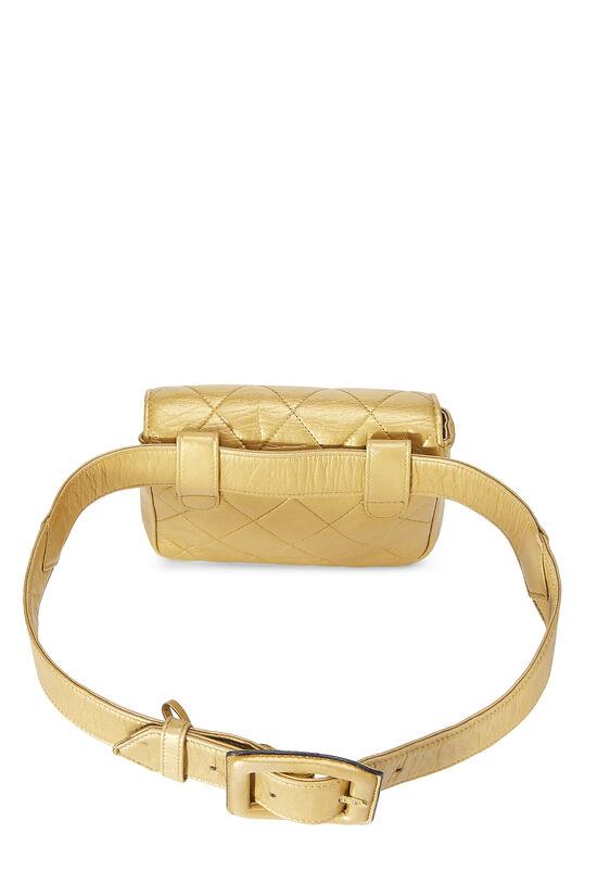Gold Quilted Lambskin Envelope Belt Bag, , large image number 3