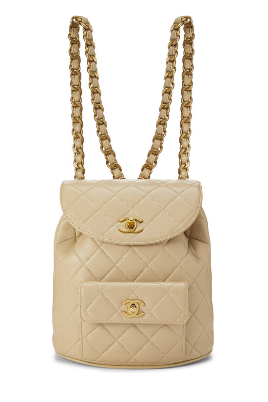 Beige Quilted Lambskin 'CC' Classic Backpack Small, , large image number 0