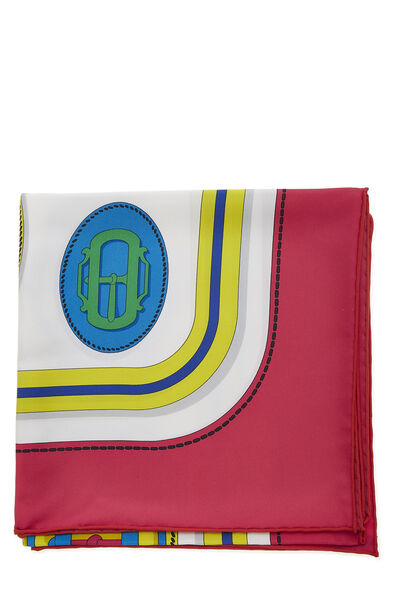 Pink & Multicolor 'Bouclerie Moderne' Silk Scarf 90, , large