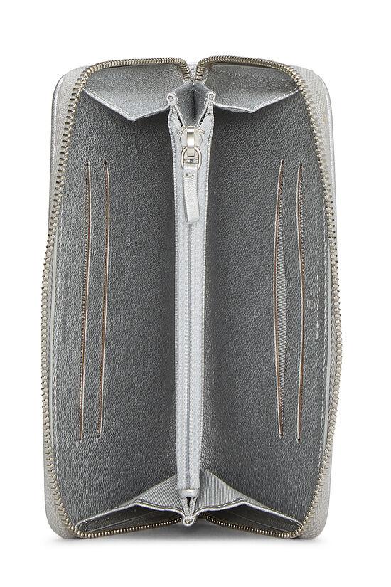Metallic Silver Chevron Lambskin Zip Wallet Small, , large image number 3
