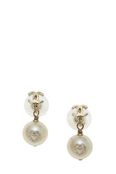 Gold 'CC' & Faux Pearl Dangle Earrings Small