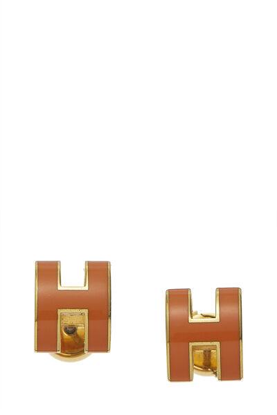 Orange Enamel Pop H Stud Earrings