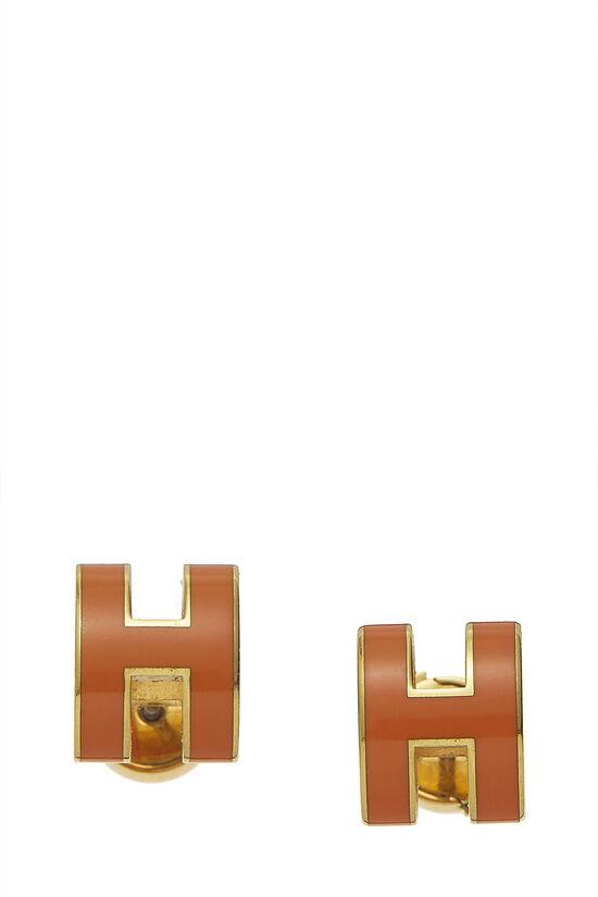 Orange Enamel Pop H Stud Earrings , , large image number 0