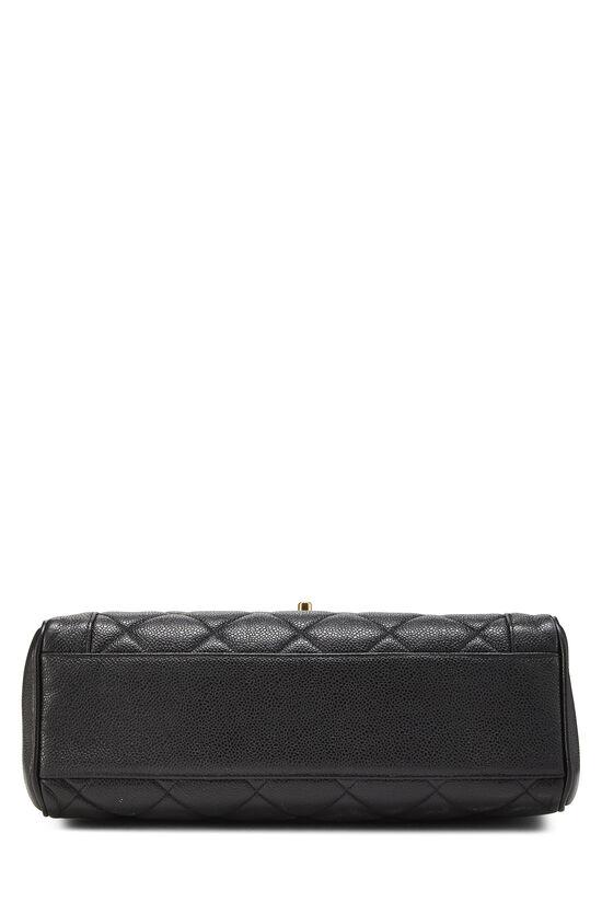 Black Quilted Caviar Handbag, , large image number 4