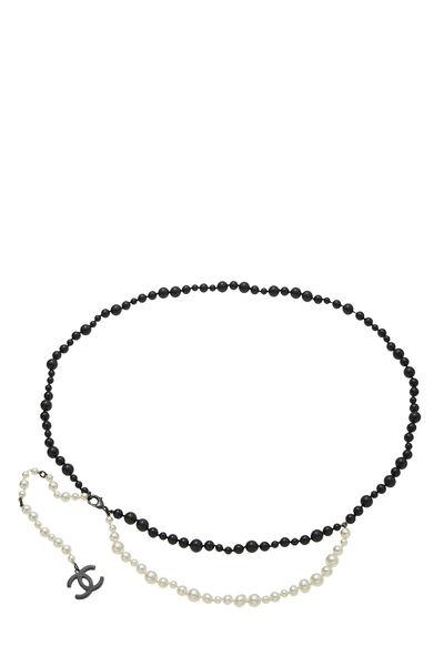Black & White Faux Pearl Belt