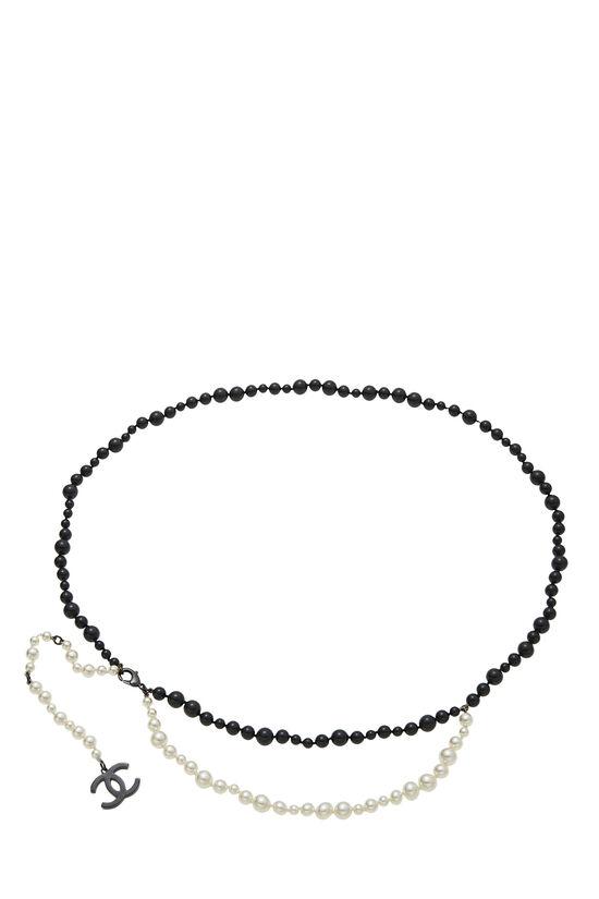 Black & White Faux Pearl Belt, , large image number 0