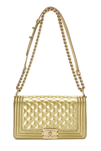 Gold Quilted Patent Leather Boy Bag Medium, , large