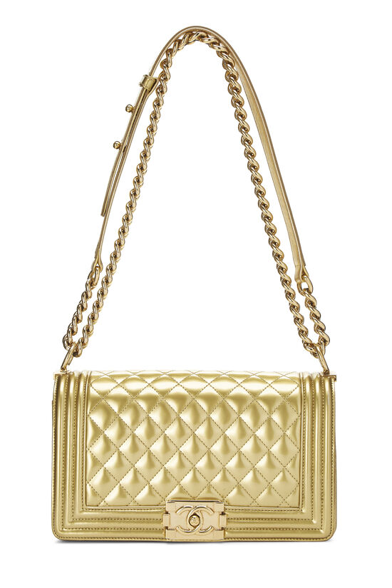 Gold Quilted Patent Leather Boy Bag Medium, , large image number 1