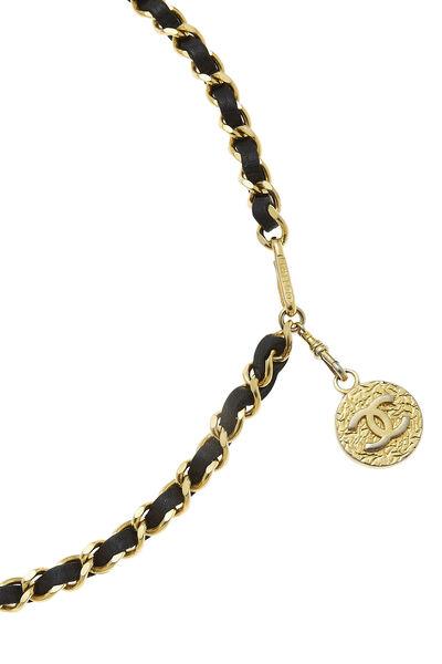 Gold & Black Leather Chain Belt, , large