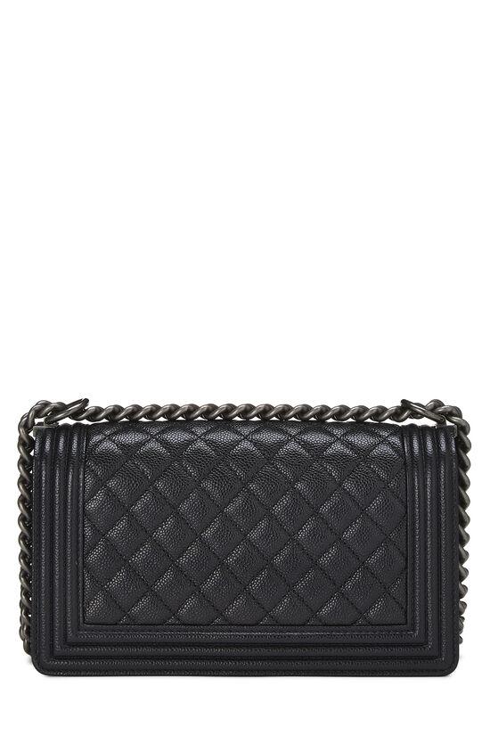 Black Quilted Caviar Boy Bag Medium, , large image number 3