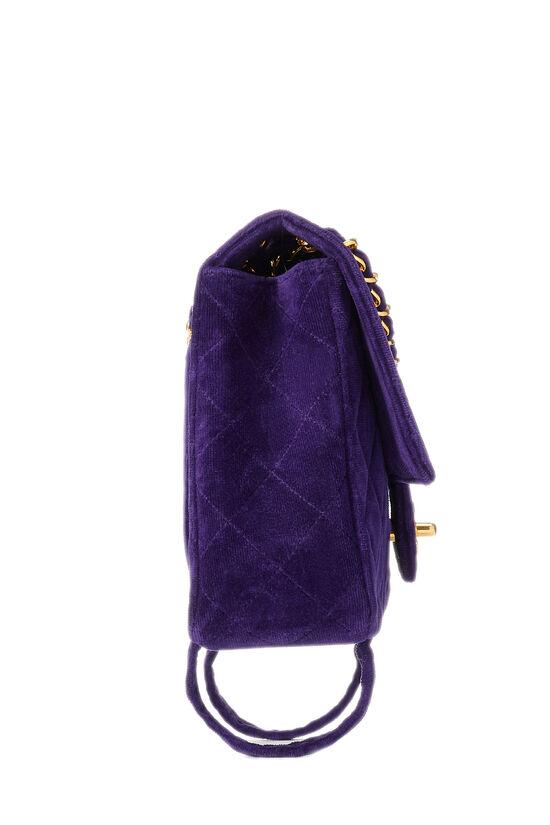 Purple Quilted Velour Magazine Flap Medium, , large image number 2