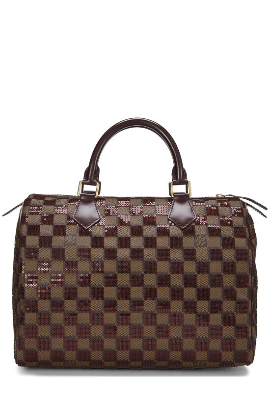 Red Damier Paillettes Speedy 30, , large image number 3