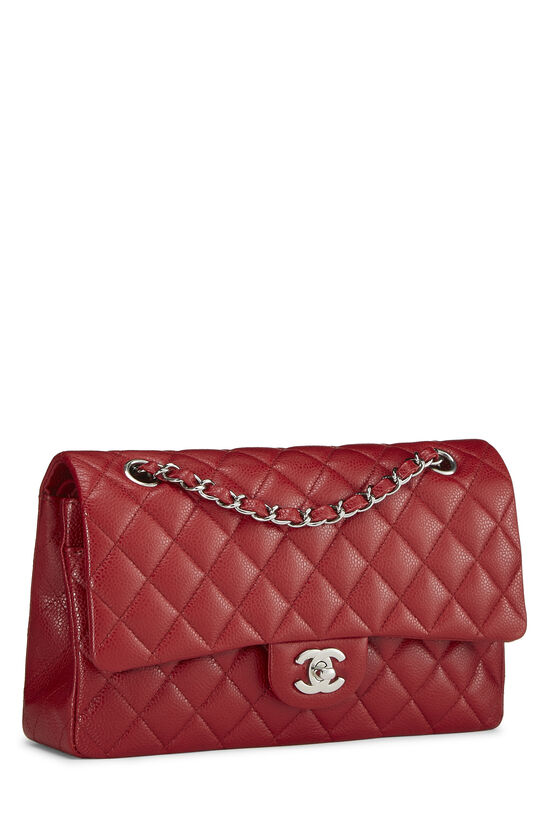 Red Quilted Caviar Classic Double Flap Medium, , large image number 1