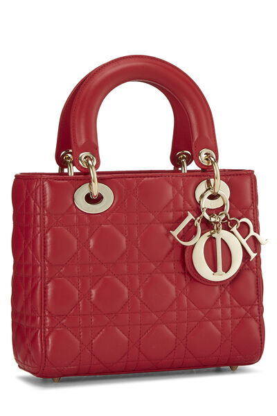 Red Cannage Quilted Lambskin Lady Dior Small, , large
