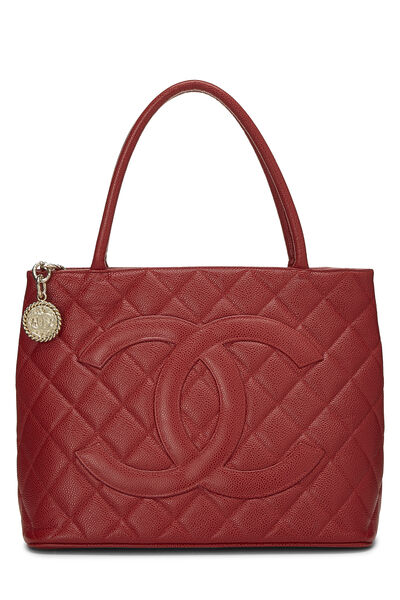 Burgundy Quilted Caviar Medallion Tote