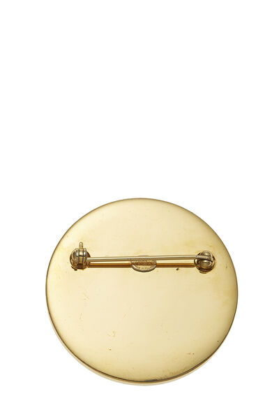 Gold & Silver 'CC' Turnlock Pin Large, , large