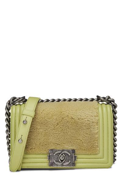 Green Fur & Calfskin Boy Bag Small