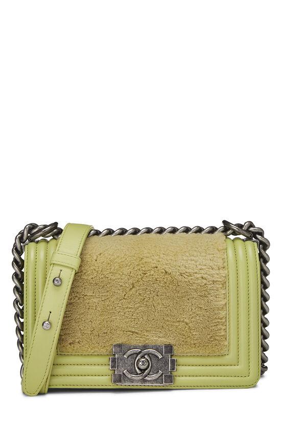 Green Fur & Calfskin Boy Bag Small, , large image number 0
