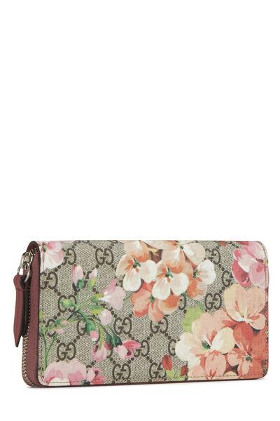 Pink GG Blooms Supreme Canvas Wallet, , large