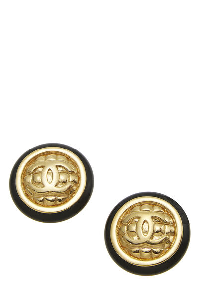 Black & Gold Quilted 'CC' Earrings Large