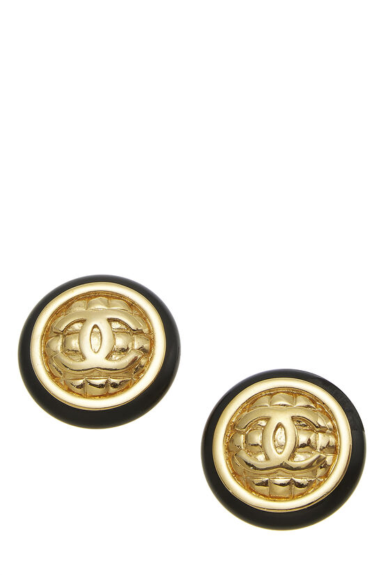 Black & Gold Quilted 'CC' Earrings Large, , large image number 0