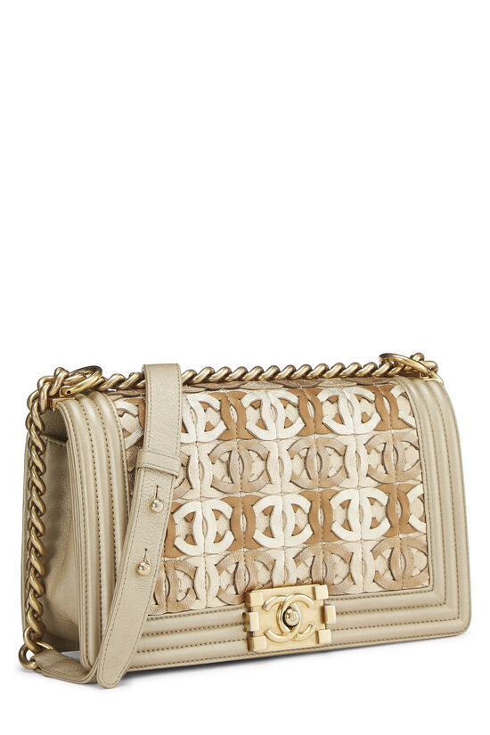 Paris-Dubai Gold Leather Woven 'CC' Boy Bag Medium, , large image number 2