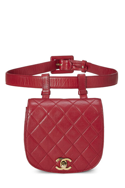 Red Quilted Lambskin Pouch Belt Bag