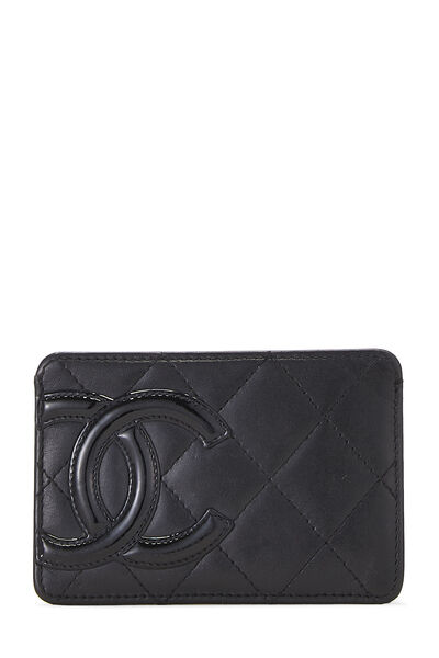 Black Quilted Calfskin Cambon Card Holder