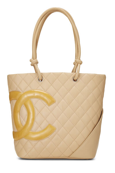 Beige Quilted Calfskin Cambon Ligne Tote Small
