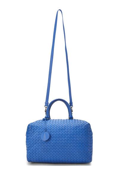 Blue Intrecciato Leather Boston, , large