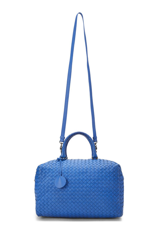 Blue Intrecciato Leather Boston, , large image number 1