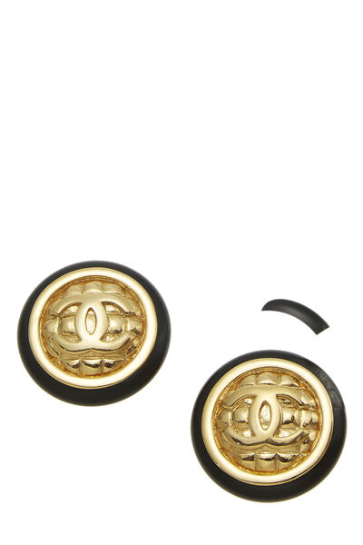 Black & Gold Quilted 'CC' Earrings Large, , large
