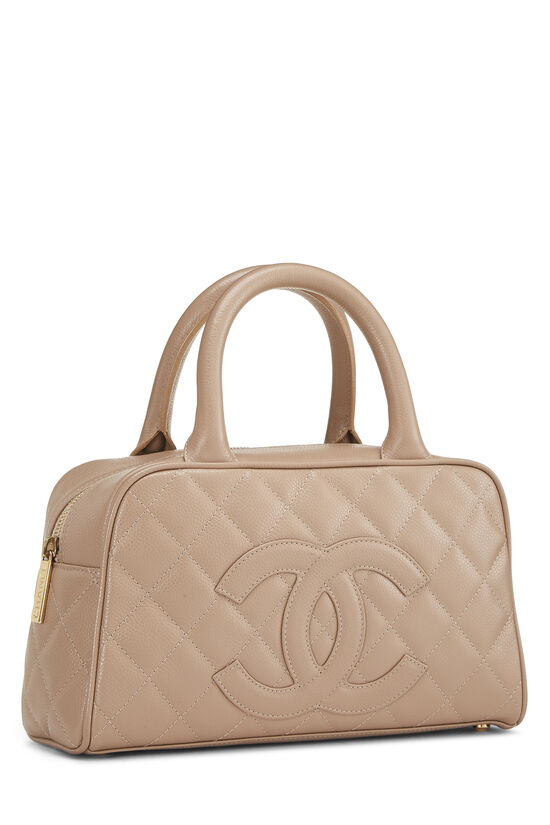 Beige Quilted Caviar Bowler Mini, , large image number 1