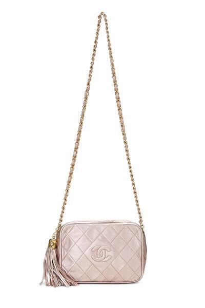 Metallic Pink Lambskin Diamond 'CC' Camera Bag Mini, , large