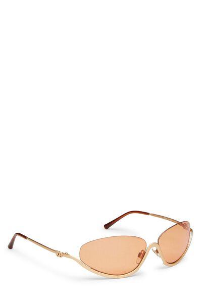 Gold Metal Half Rim Sunglasses, , large
