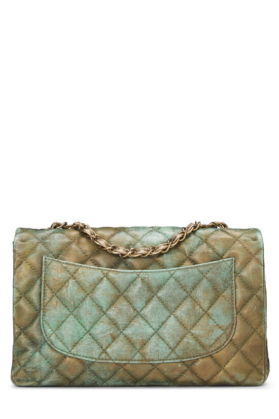 Green & Bronze Quilted Calfskin Half Flap Jumbo, , large image number 3