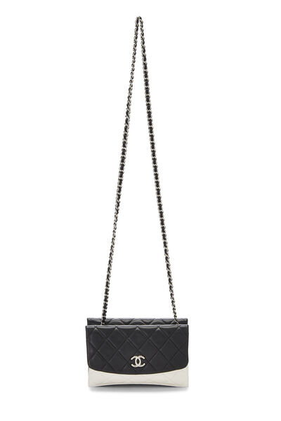 Black & White Quilted Lambskin Double Sided Wallet On Chain (WOC), , large